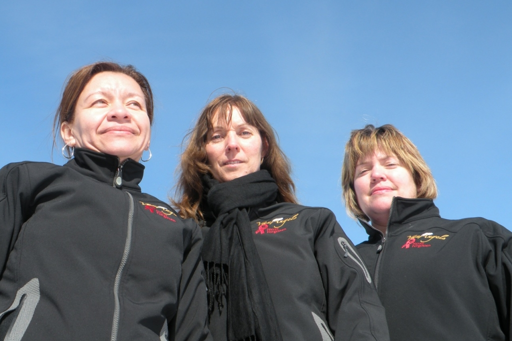 """""""Warrior-moms"""" Ana Acevedo, Isabelle Hains and Marcella Kelly, whose sons died when their school van collided with a truck on a snowy highway."""