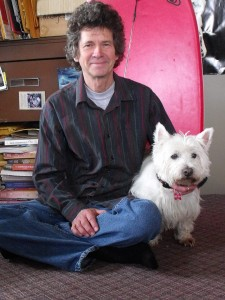 The author and his dog, Murdo love the surf. Photo: Chris Benjamin