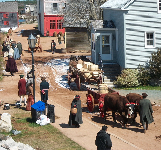 Set decorators and costumed extras transported the  Shelburne waterfront into the past.  Photo credit: Timothy Gillespie