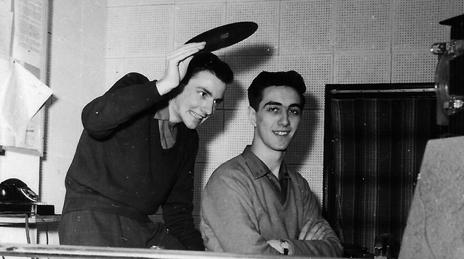 Frank Cameron (left) hamming it up, holding the vinyl over Don Campbell at CKCL Truro in 1958. Photo courtesy of Pottersfield Press