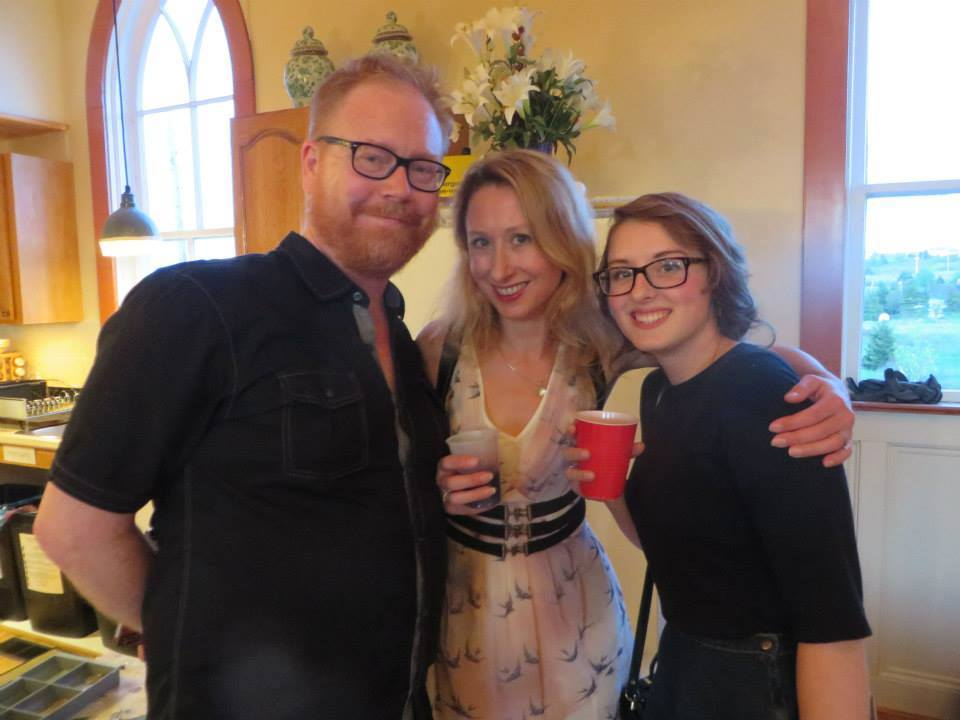 Authors George Murray and Elisabeth de Mariaffi, and dance artist Nora Stephens hang out at The Festival at Ochre Pit Cove. Photo courtesy of Breakwater Books.