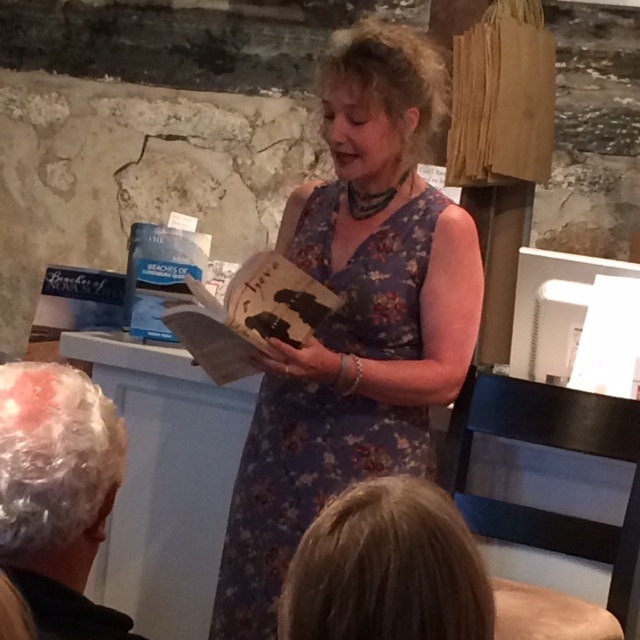 Charlotte Mendel, author of A Hero reads from her latest novel at Lexicon Books. Photo courtesy of Lexicon Books.