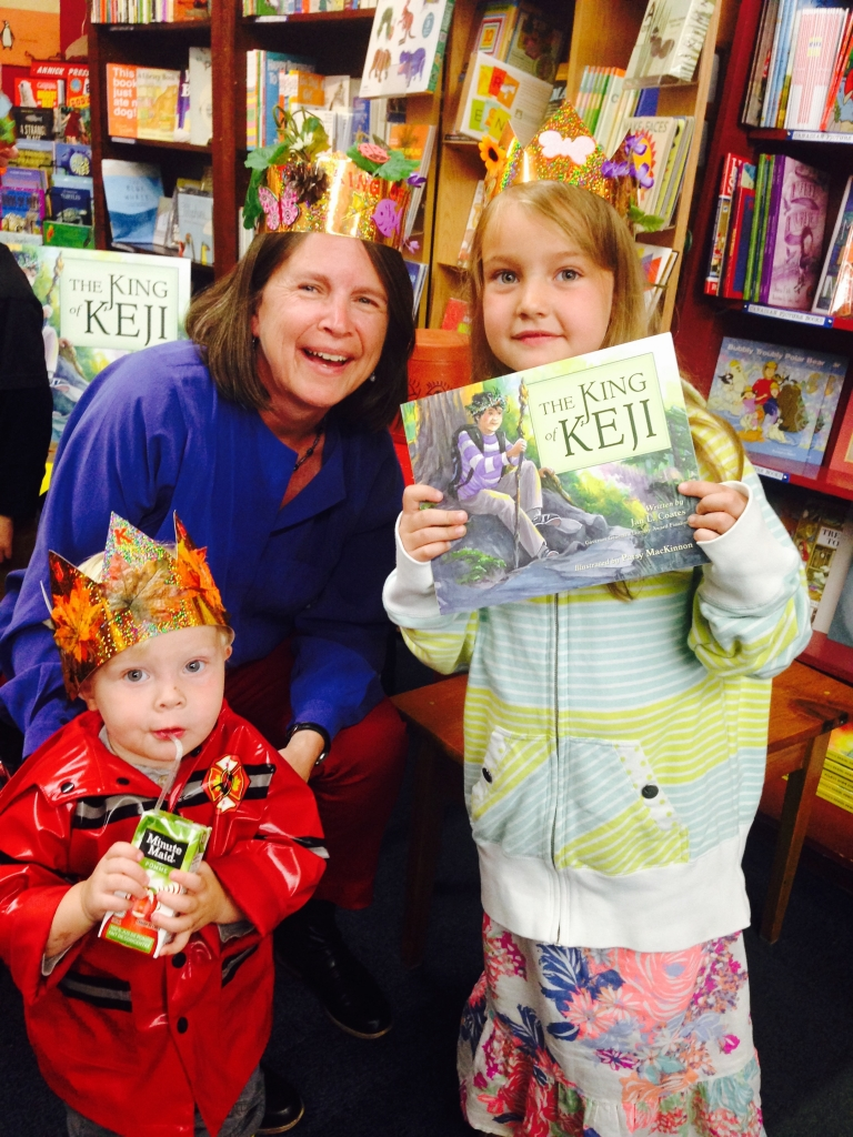 Author Jan Coates poses with young readers at her book launch at the Box of Delights Book Shop in Wolfville, NS on Saturday, June 6. Photo courtesy of Nimbus Publishing.