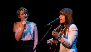 Musicians Jenn Grant of Halifax and and Caroline Savoie of Dieppe, NB, shared the stage at the Soirée Frye evening. Photo credit: Louis-Philippe Chiasson