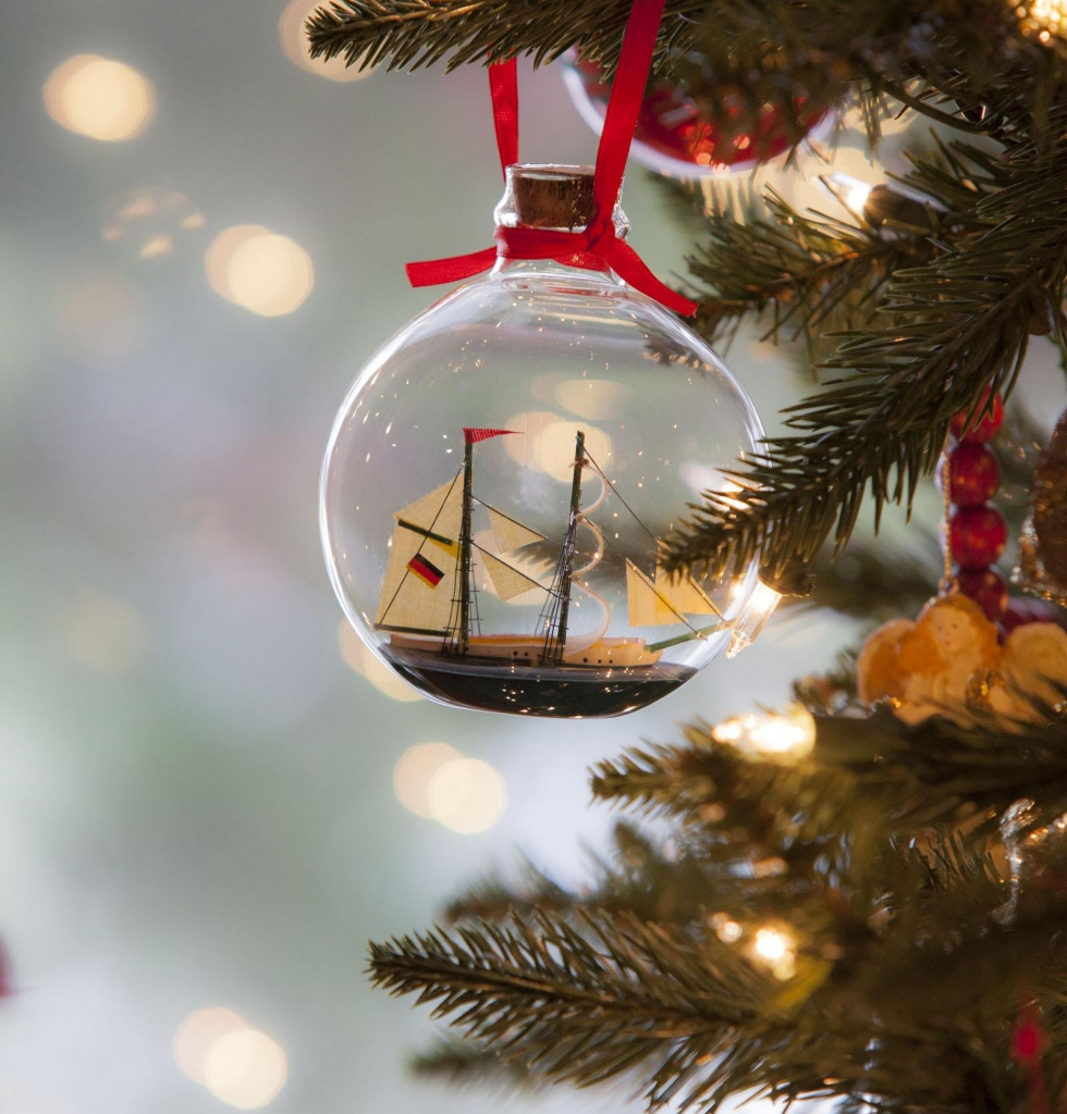 Ship Ornament on Tree