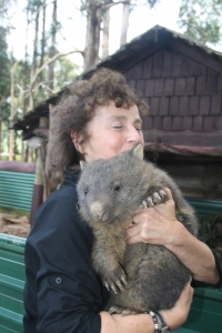 Deirdre Kessler with Lily the wombat