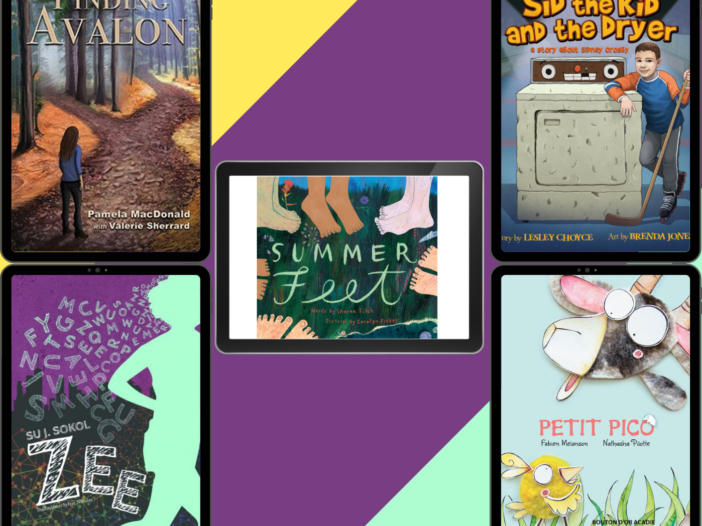 Book covers of finding Avalon, Zee, Summer Feed, Sid the Kid, and Petit Pico